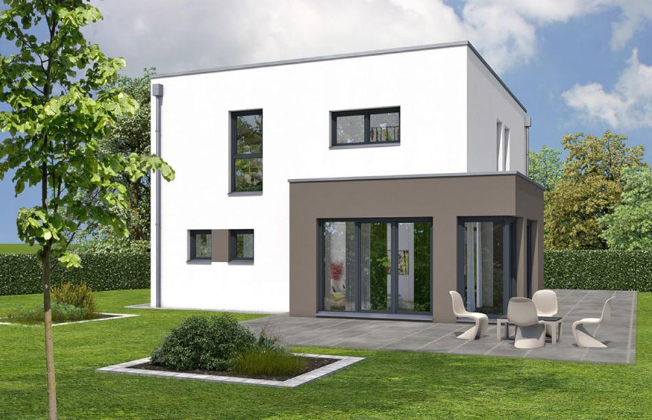 Rötzer Ziegelelement-Haus mit der Dachform Flachdach und einem Erker.