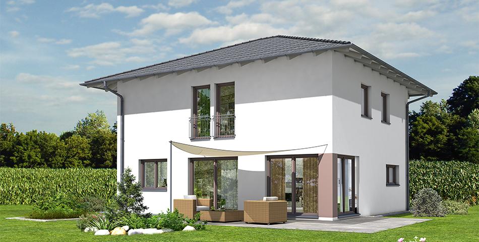 Haus mit WU-Keller. Bungalow-Bauweise. Freistehendes Haus mit Garten und Terrasse.