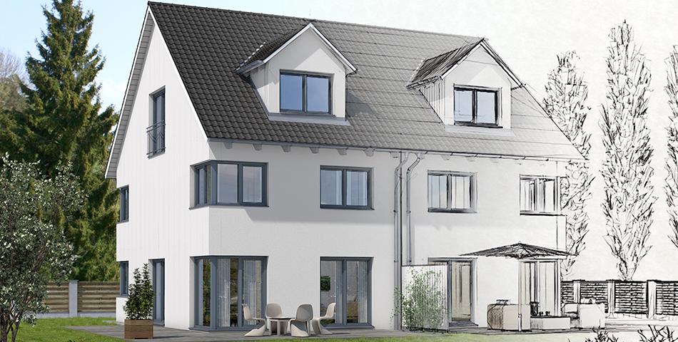 Rendering eines Rötzer-Ziegel-Element-Haus Doppelhauses