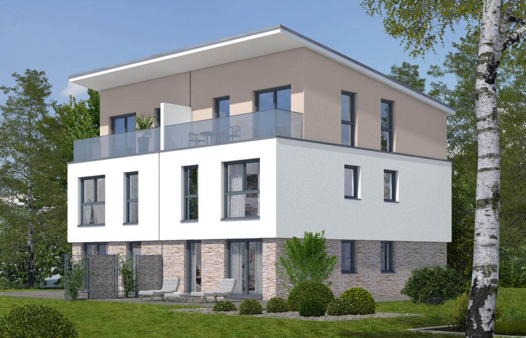 Modernes Doppelhaus bauen mit Rötzer Ziegel Element Haus