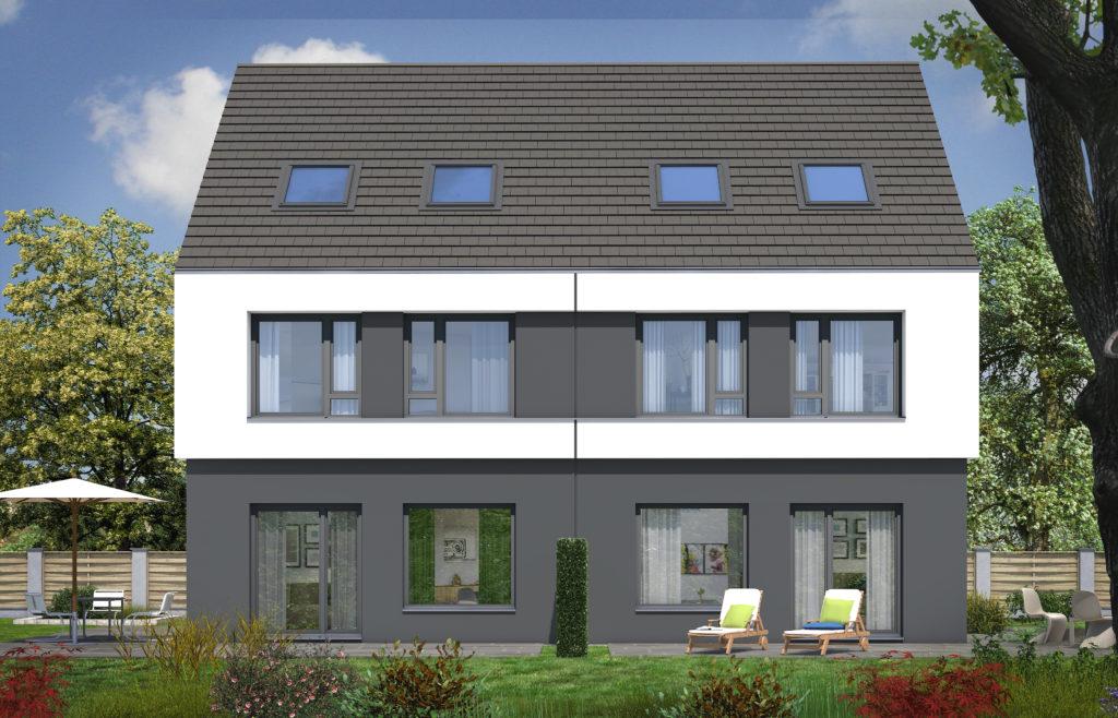 Rendering eines Rötzer Ziegel Element Haus Doppelhauses mit Blick auf den Garten
