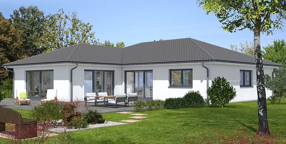 Bungalow von Roetzer Ziegelelementhaus in L-Form