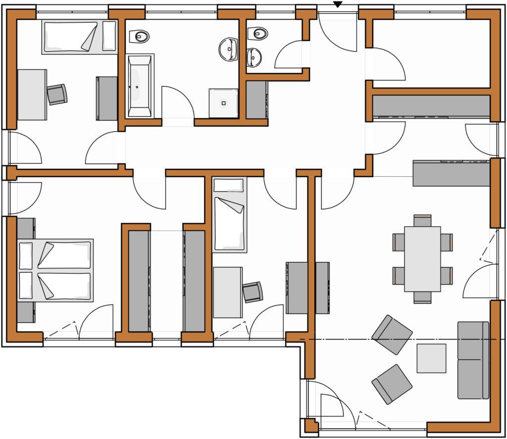 Bauplan des Winkelbungalows 117 der Rötzer-Creativ-Linie.