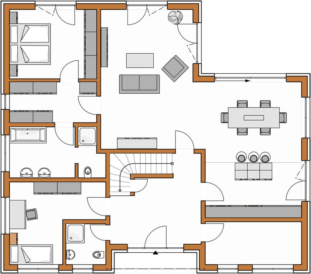 Winkelbungalow Grundriss 161 Erdgeschoss Rötzer
