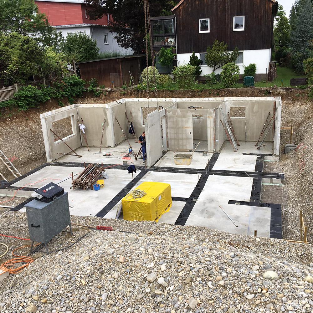 Ziegelkeller mit Betonvorsatzschale ohne Bodenplatten Aufbau