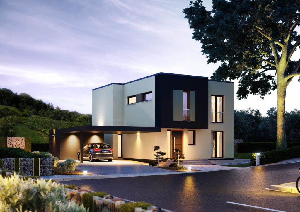 Kubistische Villa in der Dämmerung mit beleuchtetem Carport