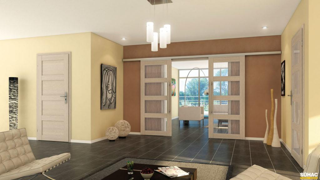 Wohnzimmer mit Blick auf eine geöffnete Schiebetür
