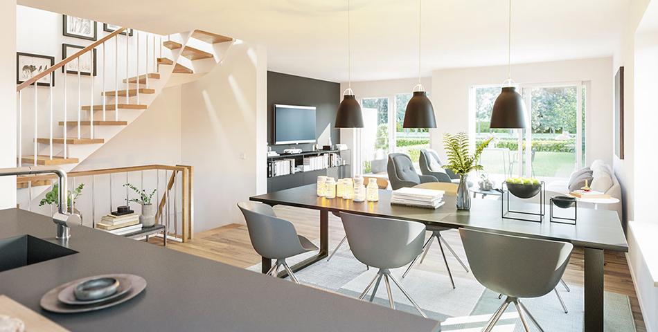 Blick von einer offenen Küche in den Wohnbereich